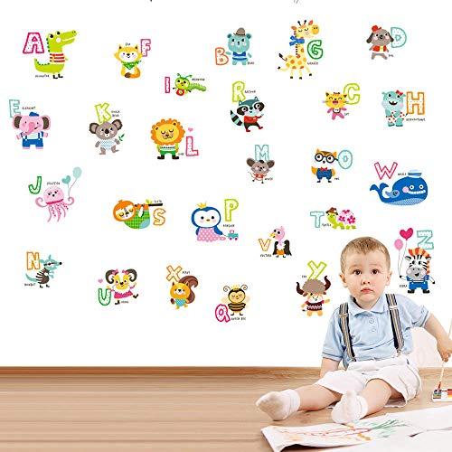 Iluminación Puzzle Pegatinas Letras Inglesas Niños Niñas Pegatinas de Pared de Vinilo Removible Autoadhesivo Mural Arte Tatuajes de Pared DIY Decoración para el hogar