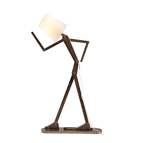 HROOME Modern Floor Lamp with Shade for Living Room Wood Home Decorative Tall Standing Light Adjustable Swing Arm Lamps (Teak)