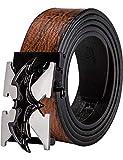 Cinturón de cuero para hombre, con hebilla de trinquete automático con impresión animal en 3D, cinturón negro de diseño sin agujeros para vaqueros, en caja de regalo Negro Negro Batman Large