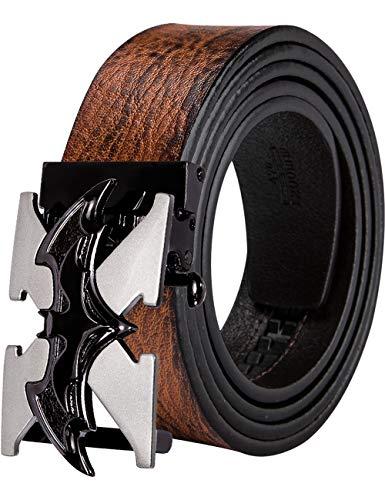 Cinturón de cuero vacuno para hombre, cinturón de animal con hebilla de trinquete automática, cinturón negro sin agujeros, caja de regalo de vaquero Negro Negro Batman Large