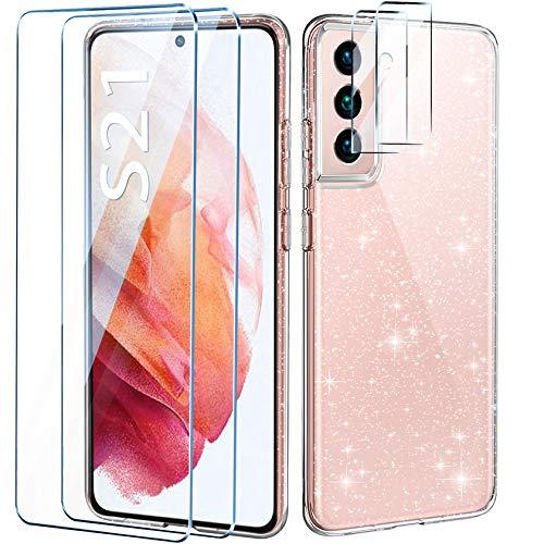 AROYI Handyhülle Kompatibel mit Samsung Galaxy S21 Hülle mit 2 Stück Panzerglas Und Kamera Panzerglas Transparente Glitzer Silikon TPU Schutzhülle Kompatibel mit Galaxy S21 5G