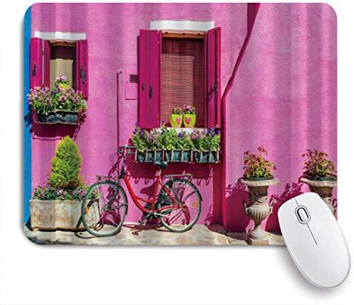 Dekoratives Gaming-Mauspad,Bunte Häuser in Burano Island in der Nähe von Venedig Fahrrad,Bürocomputer-Mausmatte mit rutschfester Gummibasis