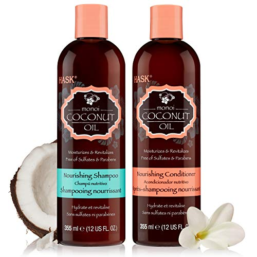 HASK COCONUT MONOI Nourishing Shampoo + Conditioner Set for All Hair Types, Color Safe, Gluten-Free, Sulfate-Free, Paraben-Free, Cruelty-Free - 1 Shampoo and 1 Conditioner