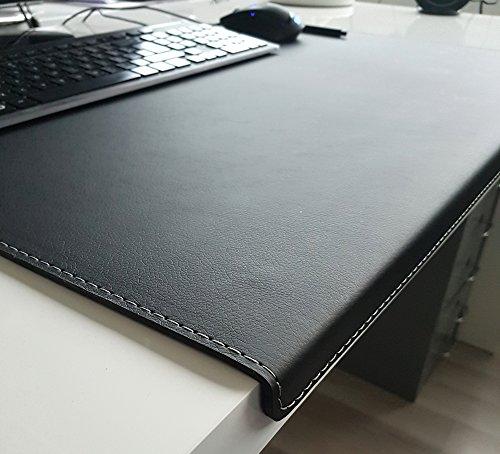 Gewinkelte Schreibtischunterlage mit Kantenschutz sanft lux Leder 60 x 38 Schwarz Silbergraue Naht