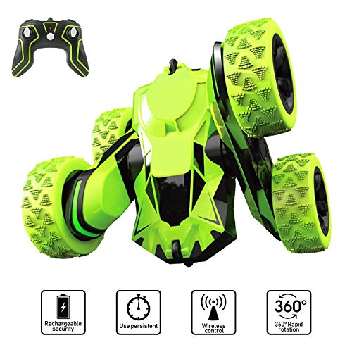 Image of the Joyjam Toys for 6-12 Year Old Boys RC Stunt Car for Kids and Adults 4WD Off Road Truck 2.4Ghz Remote Control Vehicle Double Sided 360 Degree Rotating Christmas Birthday Gifts NBC Green