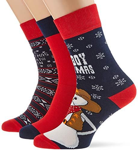 Urban Classics Herren Christmas Weihnachts-Strümpfe Set Ice Cowboy 3Er Pack Socken, Mehrfarbig (Multicolor 01667), 39/42 (Herstellergröße: 39-42)
