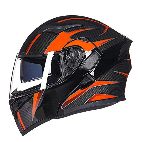 Motorradhelm Männer und Frauen Anti-Fog-Doppellinsenhelm Motorrad-Volldeckel-Integralhelm Vier-Jahreszeiten-Helm-Black Carbon Blei (Anti-Fog-Linse) _L