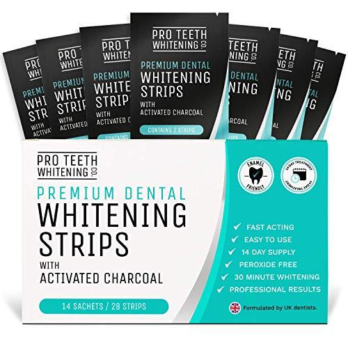 Tiras dentales blanqueadoras con carbón activado - Sin peróxido - Resultados rápidos de blanqueamiento dental - 28 tiras Premium - Formulado por dentistas del Reino Unido para Pro Teeth Whitening Co.
