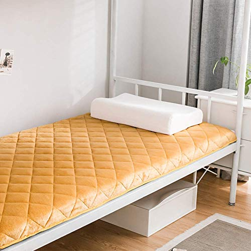 Tatami Mattress Portable Sleeping Mat, Foldable Non-slip Mat Japanese Futon Mattress Nap Single Double Dormitory Floor Pad Yellow 180x200cm (71x79in)