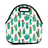 Bolsa de almuerzo portátil de neopreno, diseño de cactus del desierto, con correa de cremallera, bolsa de picnic al aire libre, viajes, bolso de mano de moda, para mujeres, hombres, niños y niñas