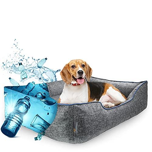 HunDu Hundebett für Mittelgroße Hunde [aus PET-Flaschen Recycelt] Waschbar Hundekörbchen 90x70 x20cm auch für kleine Hunde Dog Bed Hundekorb Abwaschbar Haustierbett für In- und Outdoor