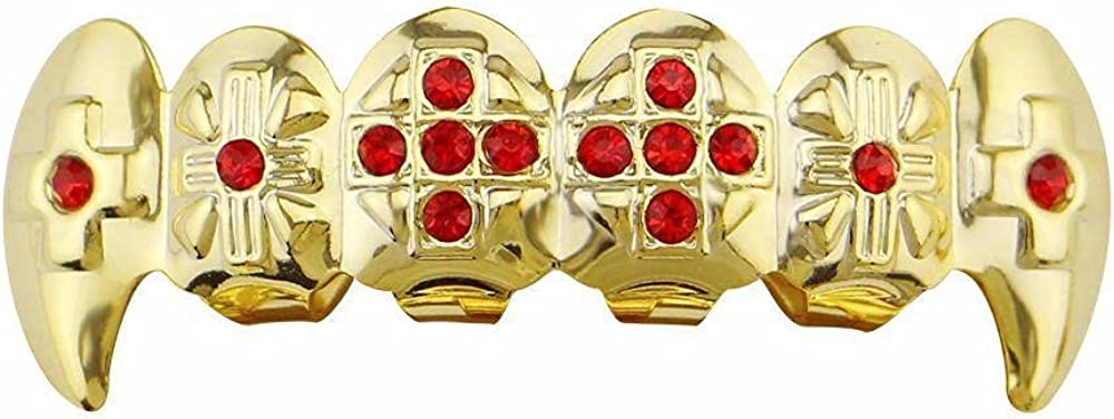 Hip Hop Teeth 18K gold-plated red diamonds hip-hop braces with blue diamonds six-tooth canine accessories