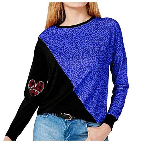 YANFANG Camiseta de mang Larga para Mujer, la Blusa Superior de la Camiseta d con Cuello Redondo y Estampado de Leopardo de Color Contraste Casual