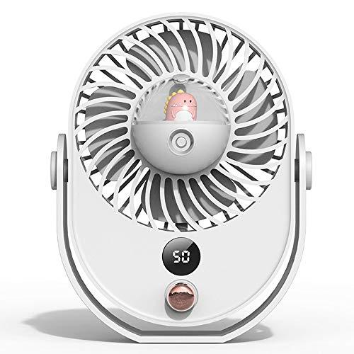 USB Cargando Spray Fan Desktop Mini Fan De Dibujos Animados Portable Silent Wet Office Small Fan Viajes Portátiles, No Hace Espacio, Pequeño (Color : White)