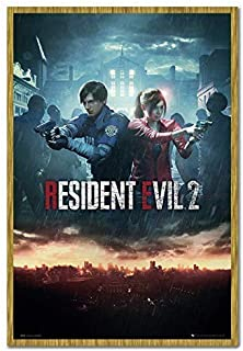 Resident Evil 2 Poster City Cork Pin Memo Board Oak Framed - 96.5 x 66 cms (Approx 38 x 26 inches)