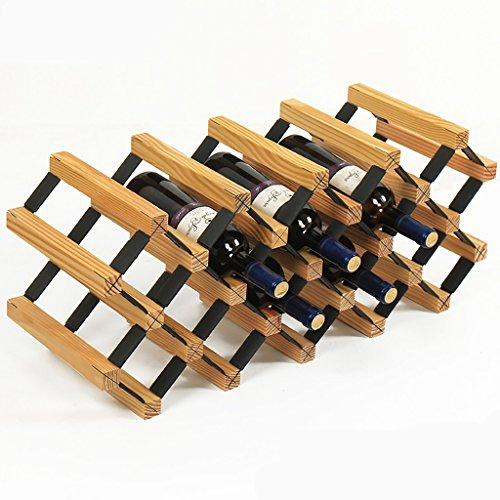 Jia He Porte-bouteilles Bois massif + Table en acier laminé à froid Bourgogne/Original/Élégant Blanc Installation gratuite Gravité forte Forte et durable 18 bouteilles @@