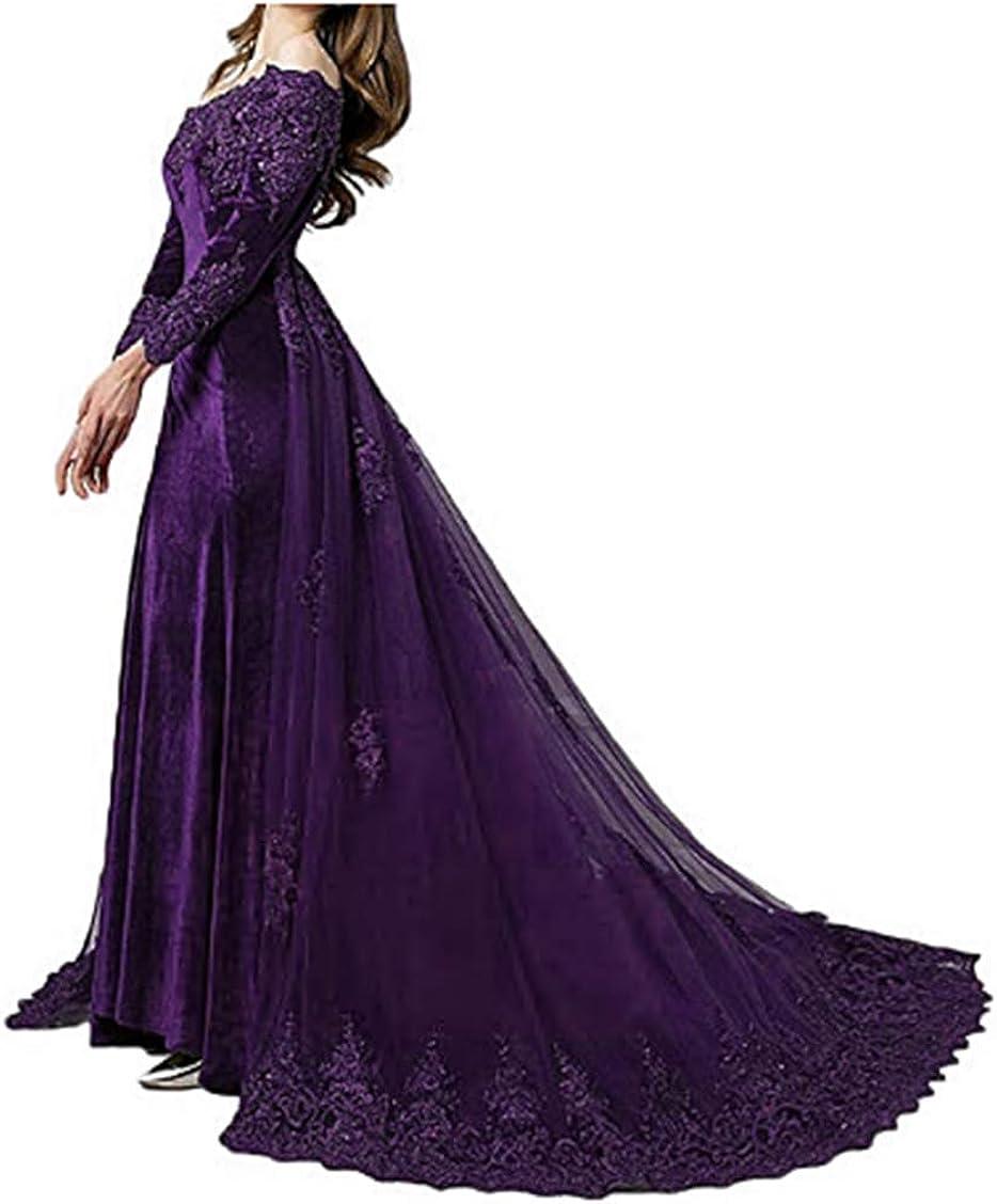 LEJY 人気の定番 Velvet Evening Gown Off The サービス Detachable Wedding T With Dress