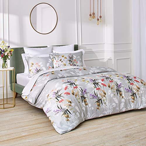 Ted Baker Highland 3-Piece Cotton Sateen Comforter Set w/Shams, Flower Design, 108ʺW x 96ʺL, King, Green
