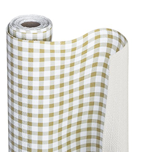 Smart Design Shelf Liner Bonded Grip - (12 Inch x 10 Feet) - Drawer Cabinet Smooth Top Non Adhesive - Home & Kitchen [Honey Gingham]