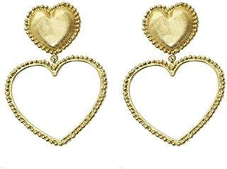 DinTERT Simple Metal Peach Heart Charm Earrings Women Dangle Drop Earrings Jewelry Gift
