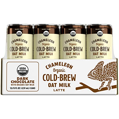 Chameleon Cold-Brew Organic Oat Milk Latte, Dark Chocolate, 8 Fl. Oz. Can (12 Pack) – Dairy-Free Cold-Brew Coffee Beverage Made...