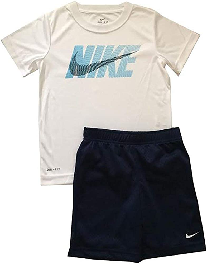 Nike Little Boys Dri-Fit Two Piece Tee Shirt and Shorts Set Binary Blue Size