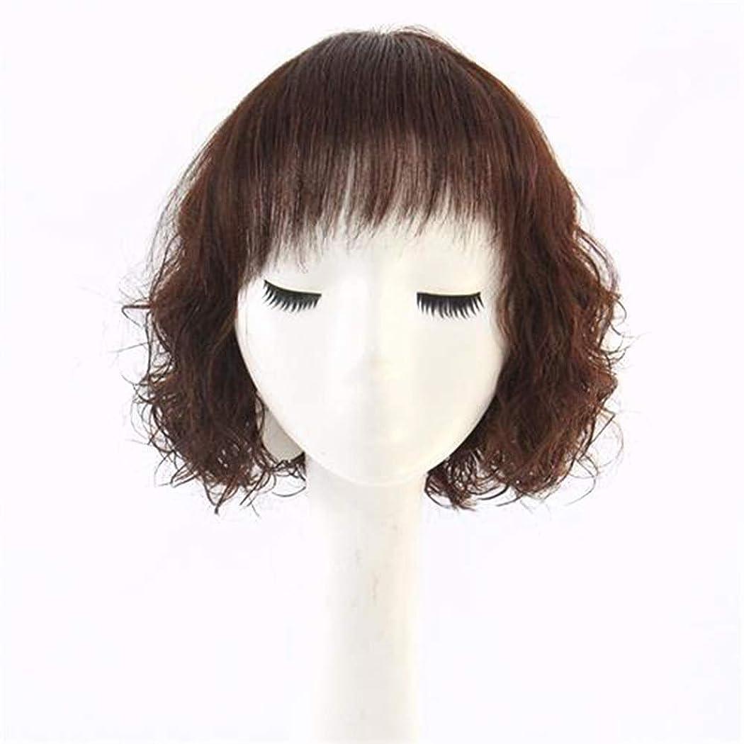 気をつけて電極地球Yrattary 女性のショートカーリーボブスタイル女性の ファッション魅力的な本物の人間の髪の毛のかつら合成毛髪のレースのかつらロールプレイングかつらロングとショートの女性自然 (色 : Dark brown)