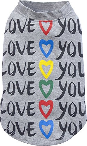 Doggy Dolly T180 hondenshirt Love You grijs, XXS