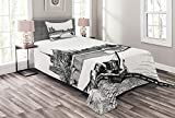 Ambesonne Notre Dame Bedspread, Eastern Tip of The Island of The City Paris in 1890 Antique Sketch Artwork, Decorative Quilted 2 Piece Coverlet Set with Pillow Sham, Twin Size, Black and White