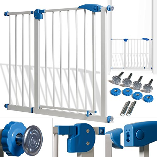KIDIZ® Türschutzgitter Absperrgitter Treppengitter Kindergitter | Gitter Haustier | ohne Bohren | beidseitig schwenkbar (102-115 cm, Weiß)