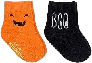 Halloween Socks 2 Pk Orange Pumpkin Black BOO 0-6 Mos