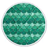 Meet 1998 Round Beach Towel Blanket with Tassels Mermaid Scale Fish Scaled Water Absorbent Sand Free Beach Pool Towels Ombre Watercolor Green Soft Picnic Carpet Swimming Travel Yoga Camping 59 inch