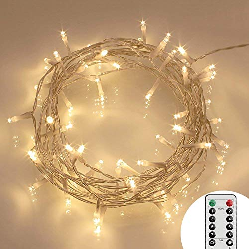 [Telecomando e Timer] 40 LED Catene di Luci Esterno a Batteria (8 Modalità, Luminosità Regolabile, Resistenti all'acqua, Bianco Caldo)