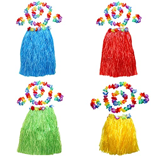 4 Piezas Conjunto Hawaii Hula, Hawaiian Grass Hula Faldas, Guirnalda Hawaiana Falda de Hierba, Adecuado para Fiestas, Fiestas de Baile, Mejorar el Ambiente de Fiesta(Cuatro Colores)