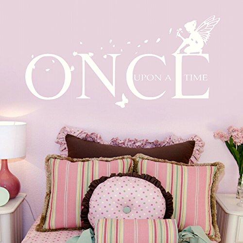 LaoGraphics Calcomanías de pared con cita «Once Upon a Time», para niños, pegatinas de vinilo para interiores, decoración de dormitorio de niña extraíble, idea de regalo zzz-go1