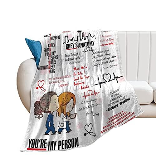 greys anatomy, coperta in morbida flanella di pile, calda stampa, ideale come regalo di compleanno per tee, ragazze, ragazzi e donne, 40 x 50 pollici