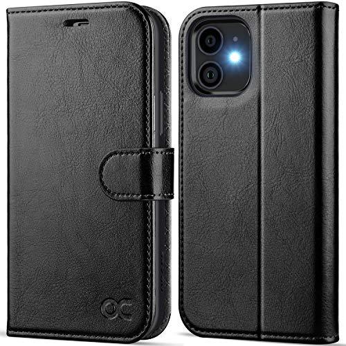 OCASE iPhone 12 Hülle iPhone 12 Pro Handyhülle [Premium PU Leder] [Kartenfach] [Magnetverschluss] Lederhülle RFID Schutzhülle Klapphülle Hülle Cover Etui Kompatibel für iPhone 12/12Pro Schwarz