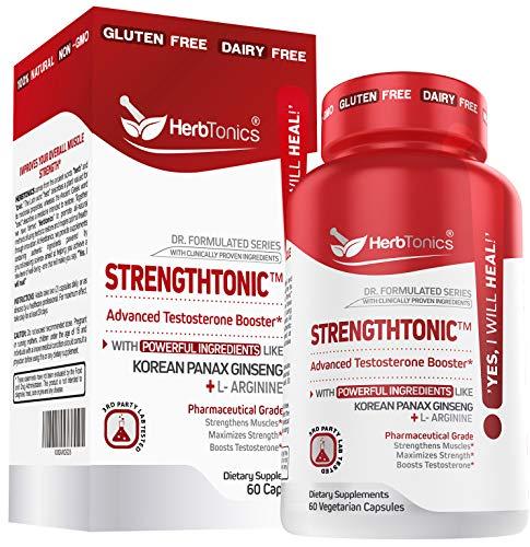 Testosterone Booster for Men Male Enhancing Pills - Enlargement Supplement Increase Size, Energy Strength & Stamina Enhancement Ginseng Pill & Tribulus Terrestris 60 Vegan Capsules