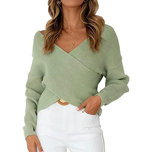 Kaenwang Suéter de punto suelto de cuello en V profundo para mujer, manga larga casual Slim Color sólido Pullover Crop Tops, verde, S