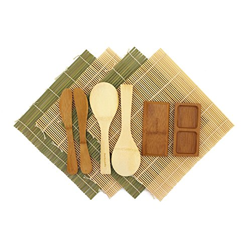 BambooMN Deluxe Sushi Maker Kit 2 SETS of 2x Rolling Mats, 1x Rice Paddle, 1x Spreader, 1x Compartment Sauce Dish   100% Bamboo Mats and Utensils