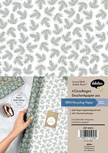 Geschenkpapier Set Weihnachten: grün-weiße Tannenzweige: 4x doppelseitige Einzelbögen + 4x Geschenkanhänger