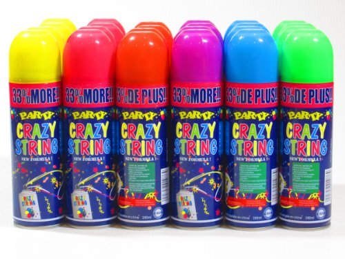 96 Pack Party Crazy String Streamer Spray Can Wholesale Wholesale Bulk Lot