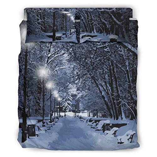 Haythan Juego de ropa de cama de 4 piezas con diseño de nieve, 4 piezas para cama de tamaño king (228 x 228 cm), color blanco