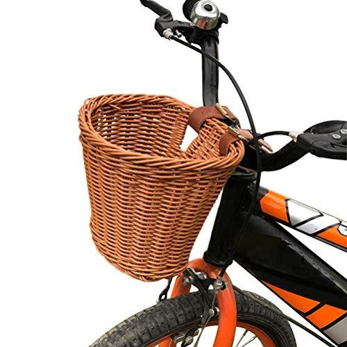 Yumoo Cestino per bicicletta a forma di D, in vimini, con cinghie in pelle, tessuto a mano, per bambini e bambini