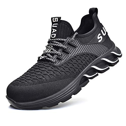 JACKSHIBO Arbeitsschuhe Herren Sicherheitsschuhe Herren Damen S3 Leicht Sportlich Atmungsaktiv Schutzschuhe Stahlkappe Schuhe (Schwarz,44EU)