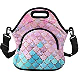Violet Mist Neoprene Thermal Insulated Lunch Tote Bag Soft Large with Extra Pocket Detachable Adjustable Shoulder Lunchbox Handbags Women Girls (Mermaid Scale)