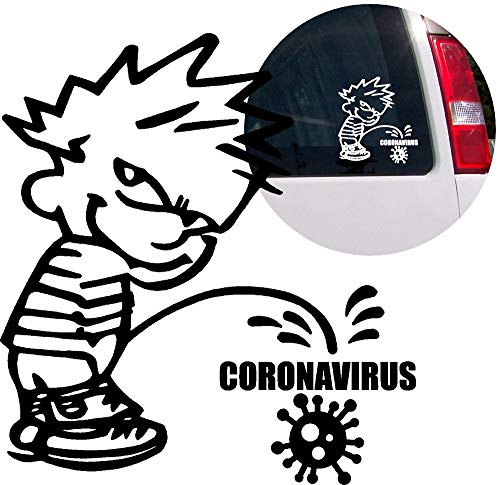 Coronavirus (Covid 19) Calvin Peeing Pissing Pandemic Virus Vinyl Decal Sticker for Bumper Car Windows Truck Wall Laptop Cell Book Bike Cup 4x4,Off Road Boat, Motorcycle, RV Trailer (Designs 3)