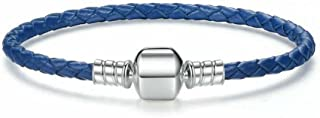 Genuine Leather Woven Bracelet with 925 Sterling Silver Snap Clasp Charms for Xmas,Anniversary Gifts (19cm ( 7.5inch), blue)