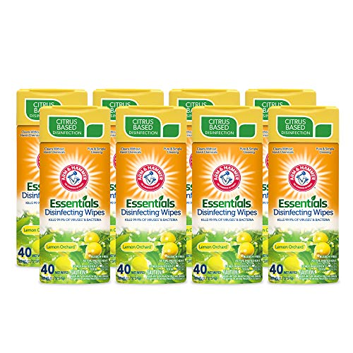 Arm & Hammer Essentials Disinfecting Wipes, Lemon Orchard Scent, 8 Pack, 40 Count, 320 Wipes