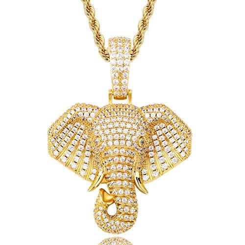 DFWY Collar de Hip Hop Colgante de Elefante Helado para Hombres Mujeres,18K Oro Chapado Bling Micro Pave CZ Diamante Simulado, Acero Inoxidable Twist Cadena Animal Amuleto Joyería (Color : Gold)